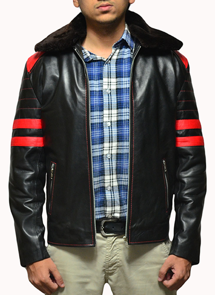 Fight Club Red Stripes Custom Jacket With Furr