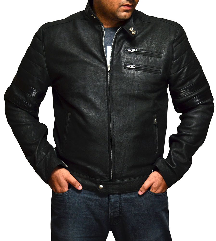 Fight Club Mayhem Distressed Black Leather Jacket