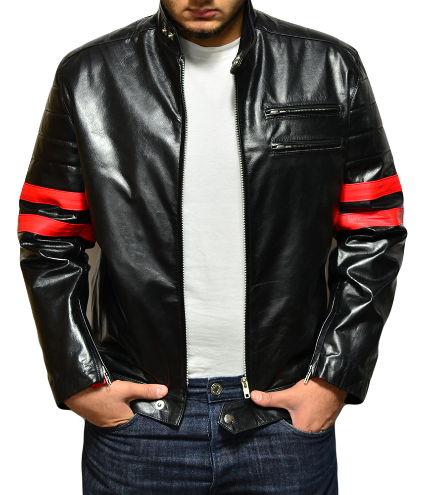 Fight Club Mayhem Leather Jacket - Candy Red Stripes