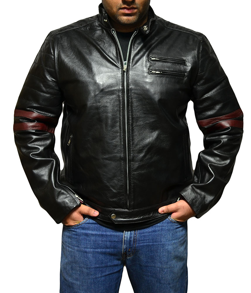 Fight Club Mayhem Leather Jacket- Black & Maroon
