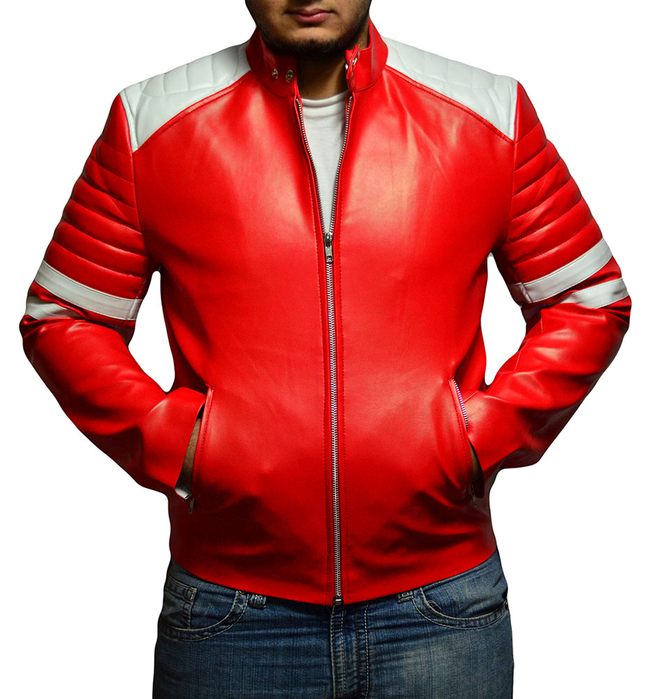 Fight Club Mayhem Leather Jacket- Red & White