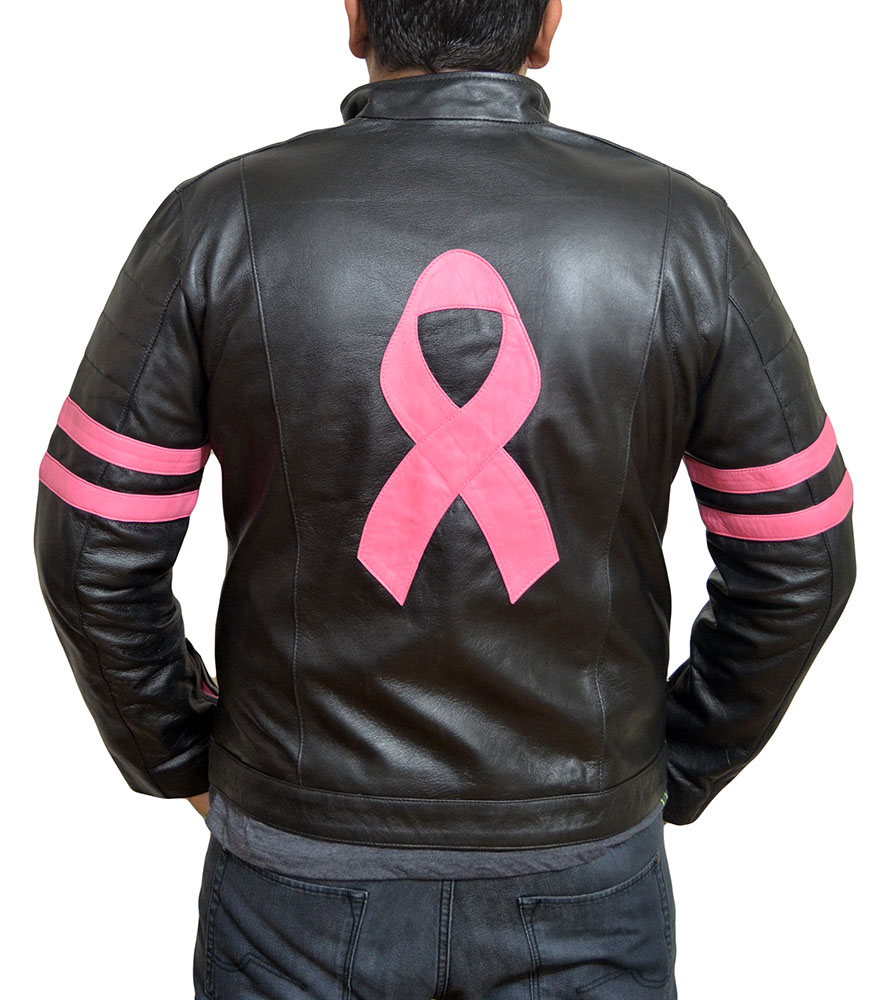 Fight Club Mayhem Pink Ribbon Leather Jacket