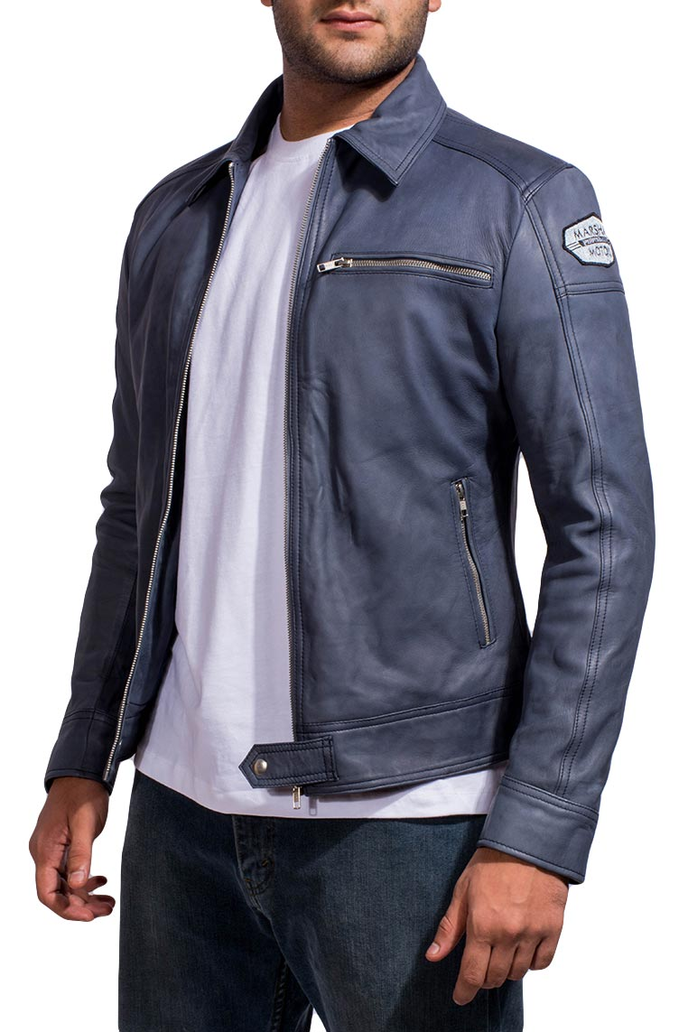 Navy Blue Racer Jacket