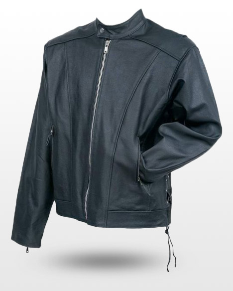 Cruiser Solid Black Motorcycle Jacket