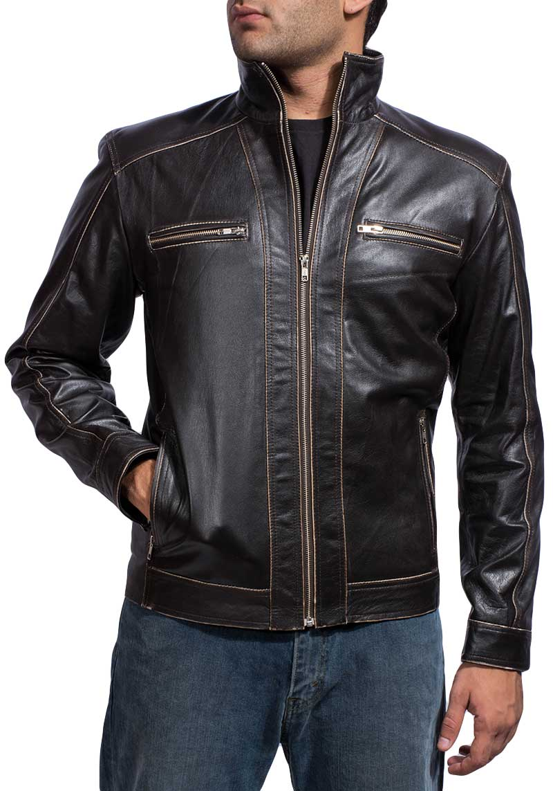 Men's Distressed Brown Jacket With Brown Outlining