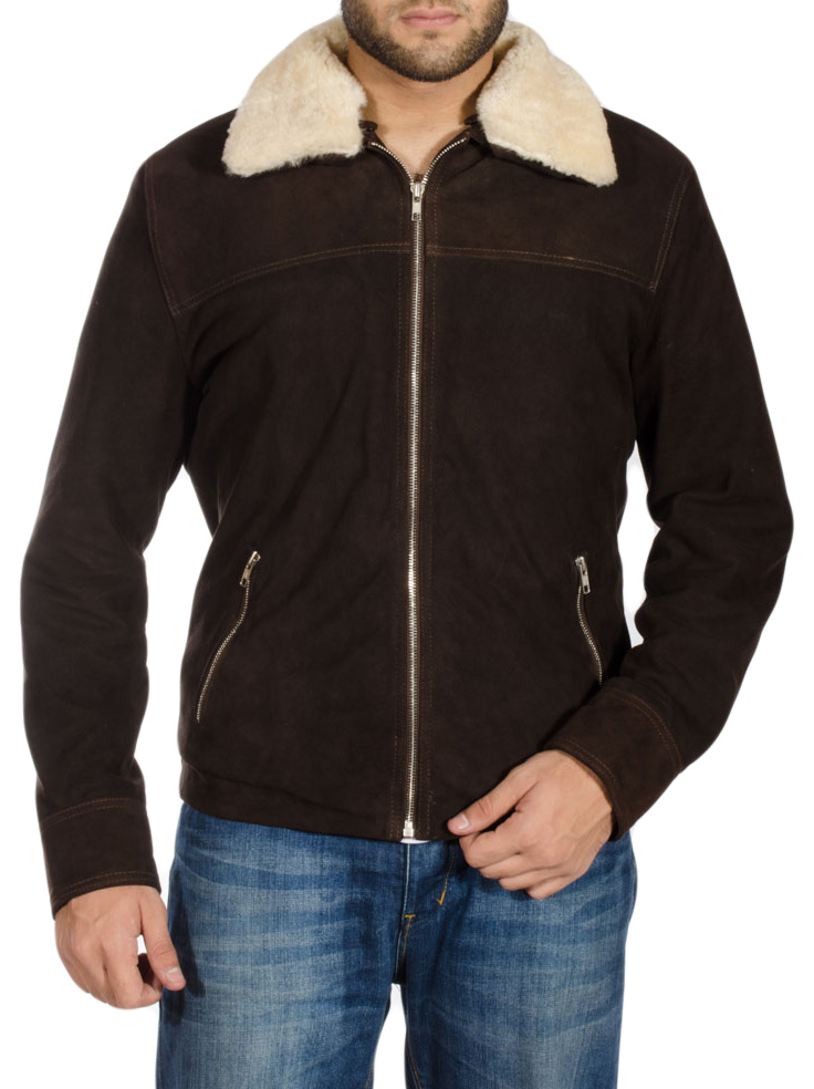 Brown Jacket With Shearling Collar & Fur Lining