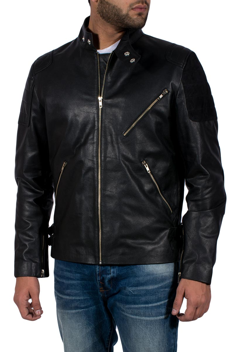Carbon Stacked Leather Jacket