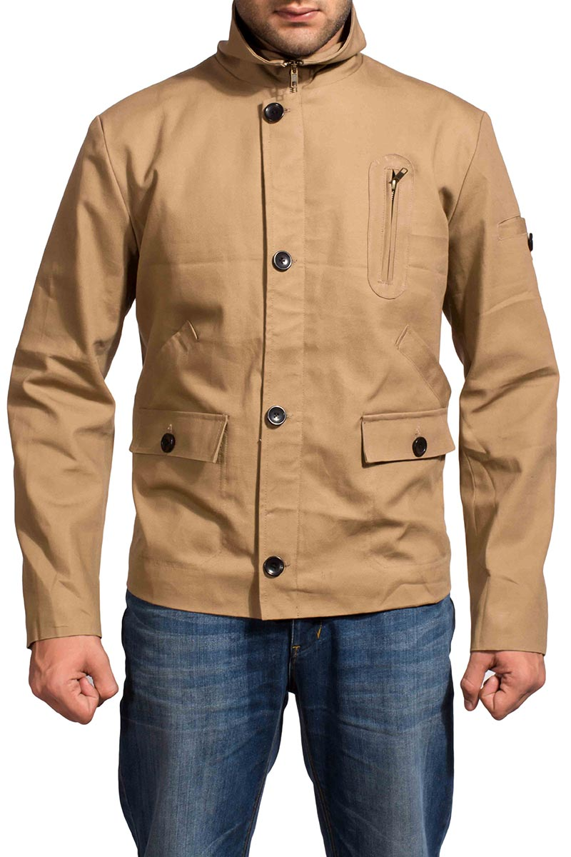 Brown Cotton Jacket with Button Closure