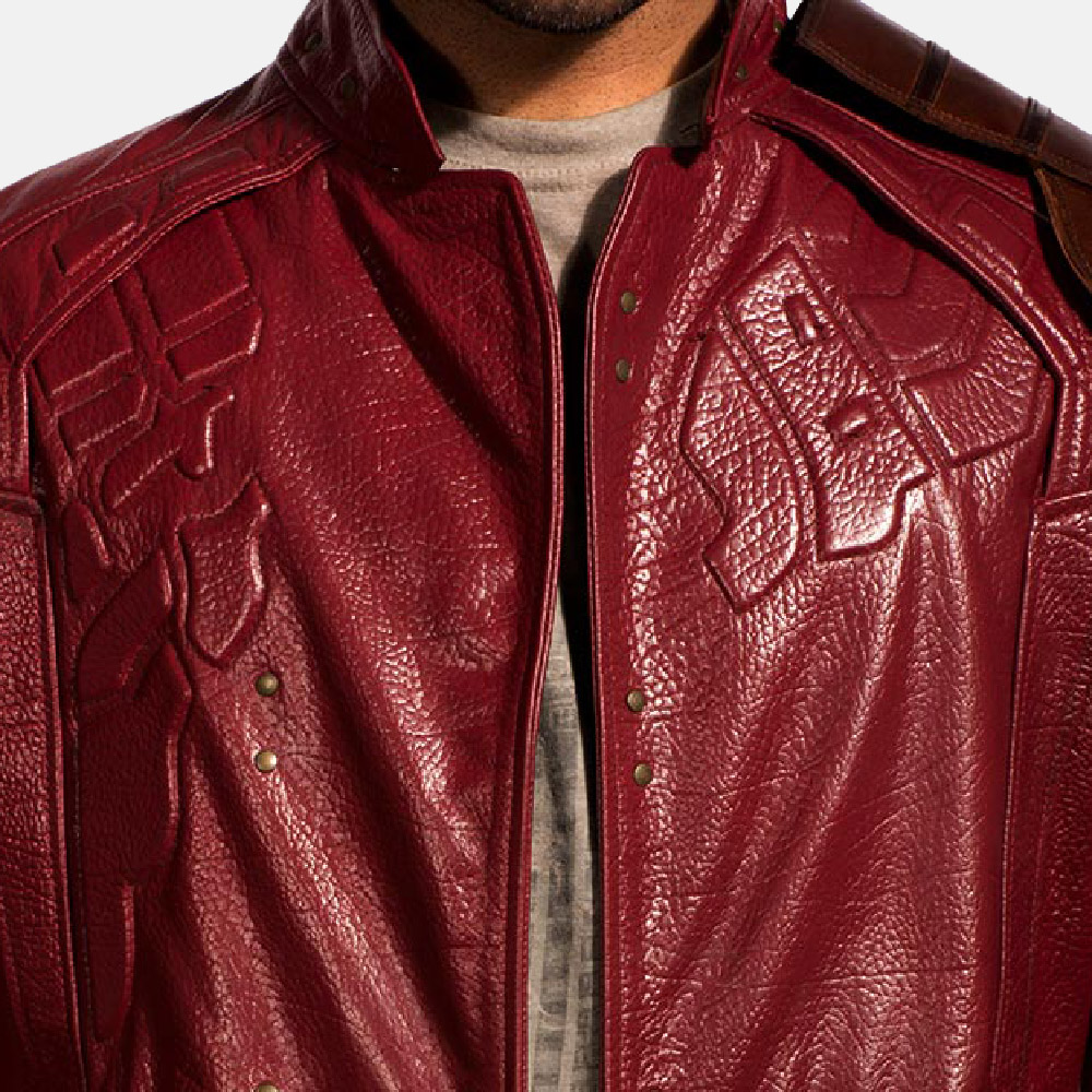 Mens Mars Maroon Leather Coat 7