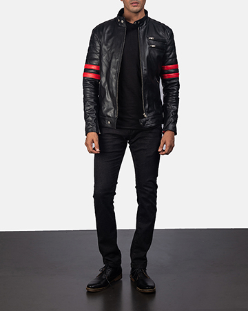 Mens Monza Black & Red Leather Biker Jacket 1