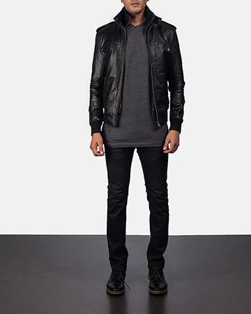 Mens Glen Street Black Leather Bomber Jacket 1