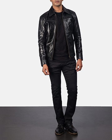 Mens Mystical Black Leather Jacket 1