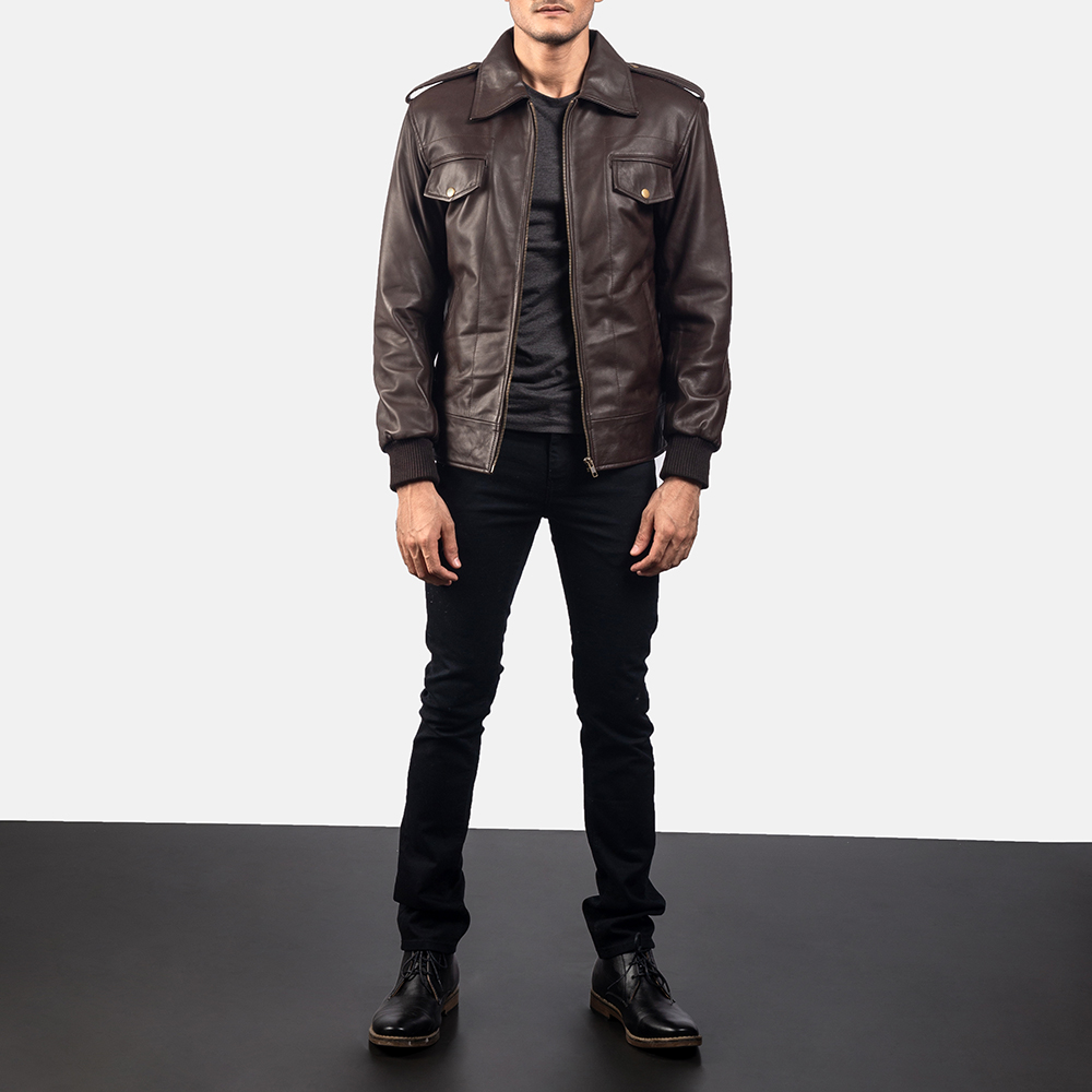 Mens Chocolate Rumble Leather Bomber Jacket 6