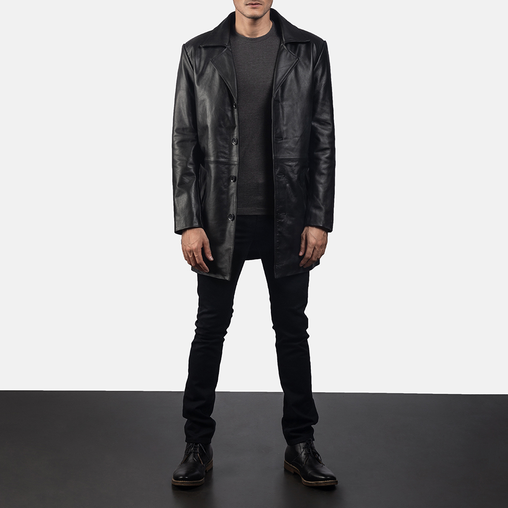 Mens Classmith Black Leather Coat 1