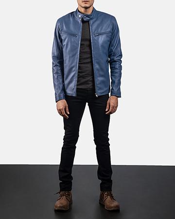 Mens Ionic Blue Leather Biker Jacket 1