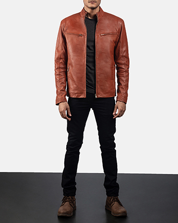 Mens Ionic Tan Brown Leather Biker Jacket 1