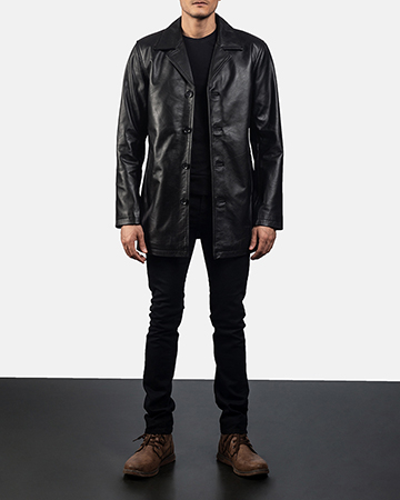 Mens Urban Slate Black Leather Coat 1